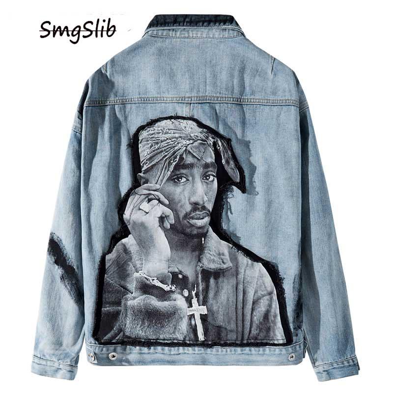 2020 Hip Hop Rap Rapper 2PAC Tupac Shakur Patchwork Tie Dye Denim Jacket Hip Hop Casual Denim Jean Coat Streetwear Outerwear