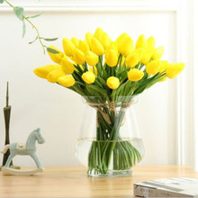 31Pcs PU Mini Tulips Flower Real Touch Fake Bouquet Artificial Flowers for  Wedding Decoration Home Party