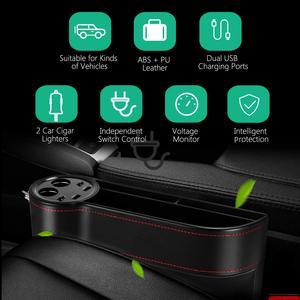 Image 5 - Auto Sitz Organizer Lücke Lagerung Box Spalt PU Fall Tasche Auto Sitz Seite Schlitz für Schlüssel Brieftasche Münzen Telefon USB ladegerät