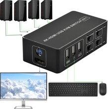 4 포트 4K HDMI KVM 스위치 스플리터 박스 USB HDMI 4K KVM 스위처 셀렉터 컨트롤 mac os 용 최대 4 개의 모니터. Windows 10