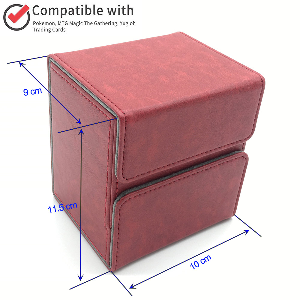 Magic Pokemon/YuGiOh Trading Card Deck Case for Magic/Pokemon/YuGiOh Trading Card mtg Deck Box: Wine Red image