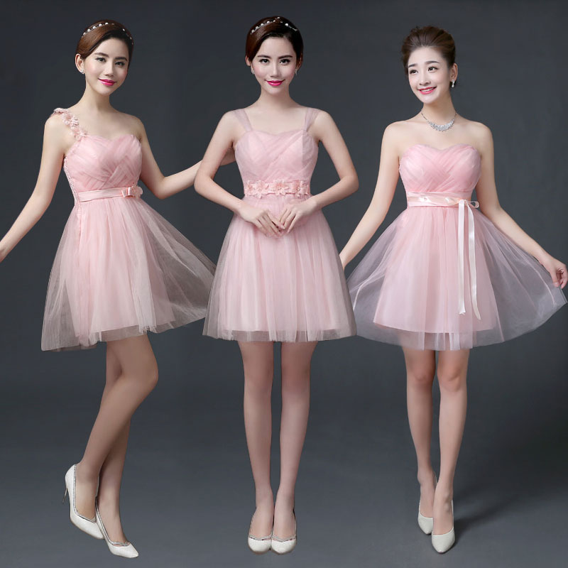 Elegant Maid Of Honor Dress For Weddings Pink Short Bridesmaid Dress Off The Shoulder A-Line Simple Dress Sexy Prom Short Frocks
