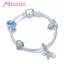 MISSITA Fantasy Rainbow Series Charm Bracelet with Unicorn Crystal Murano Beads Bracelets for Women Jewelry Brand Gift