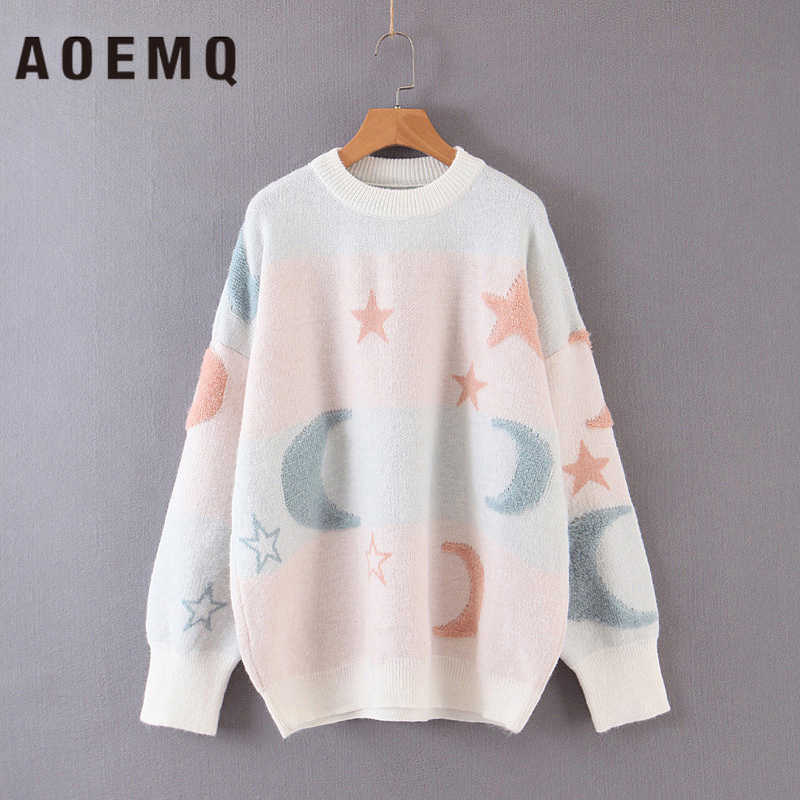 AOEMQ Fashion Sweaters Night Day Star Moon Print 3 Colors Winter Sweater Pullover Sweet Cartoon Natural Warm Sweaters Clothing