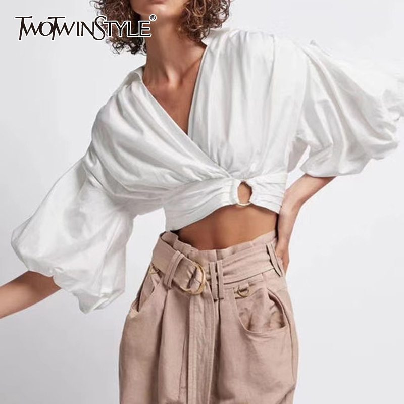 TWOTWINSTYLE Casual Hollow Out Women Shirt V Neck Lantern Half Sleeve Short Ruched Loose Blouse Female Fashion Clothing 2020 New