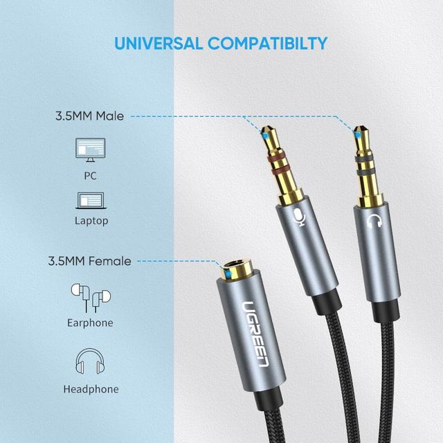 Ugreen Splitter Headphone for Computer 3.5mm Female to 2 Male 3.5mm Mic Audio Y Splitter Cable Headset to PC Adapter 5