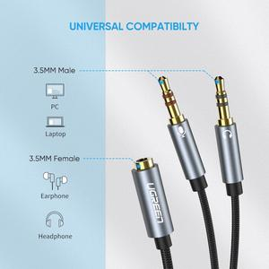 Image 5 - Ugreen ספליטר אוזניות עבור מחשב 3.5mm נקבה ל 2 זכר 3.5mm מיקרופון אודיו Y ספליטר כבל אוזניות כדי מחשב מתאם