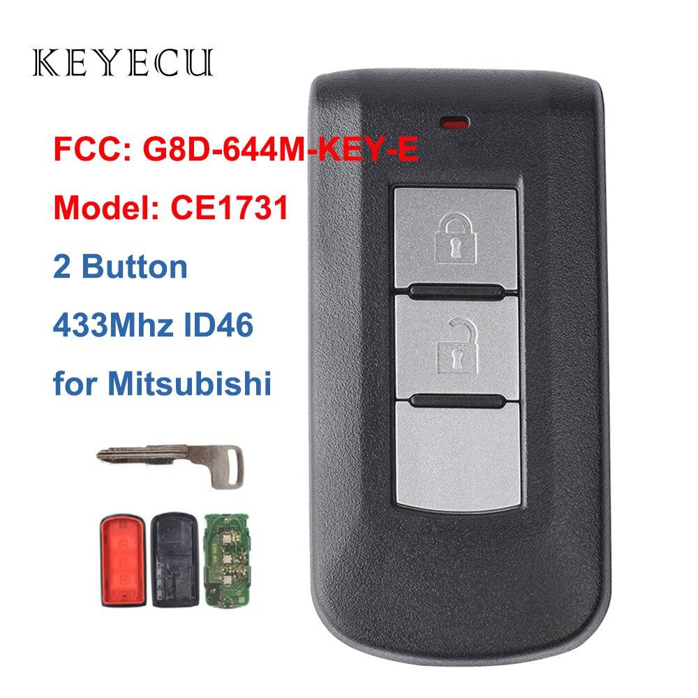 Keyecu дистанционный смарт ключ-брелок 2 кнопки 433 МГц PCF7952 ID46 для Mitsubishi Lancer Outlander ASX FCC: G8D-644M-KEY-E