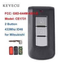 Keyecu obudowa inteligentnego pilot z kluczykiem samochodowym 2 przycisk 433Mhz PCF7952 ID46 do Mitsubishi Lancer Outlander ASX FCC: G8D-644M-KEY-E