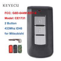 Porte-clés à distance intelligent Keyecu 2 boutons 433Mhz PCF7952 ID46 pour Mitsubishi Lancer Outlander ASX FCC: G8D-644M-KEY-E
