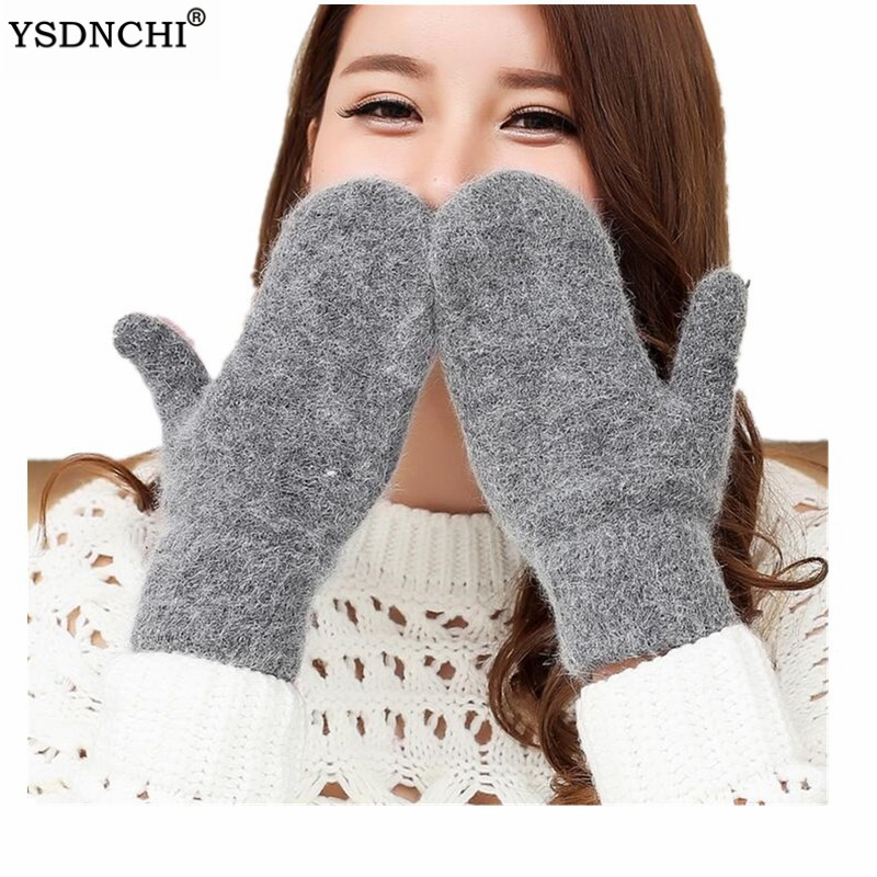 YSDNCHI Female Gloves Mittens Rabbit-Fur Soft Warm Double-Layer Women Fashion Girl Candy-Color