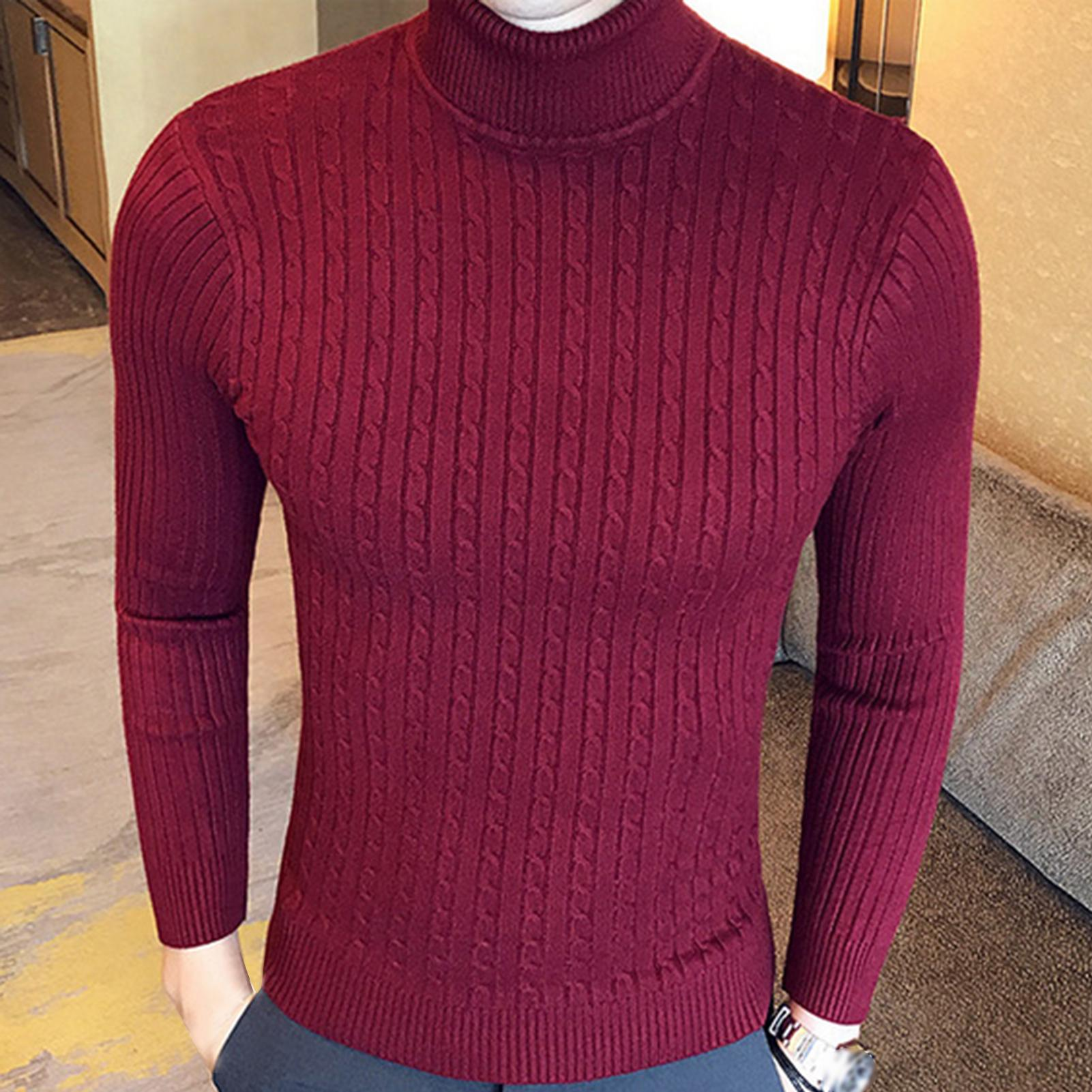 2020 New Autumn Winter Men'S sweater Men's Turtleneck Solid Color Casual Sweater Men's Slim-Fit Knitted Pullovers 1