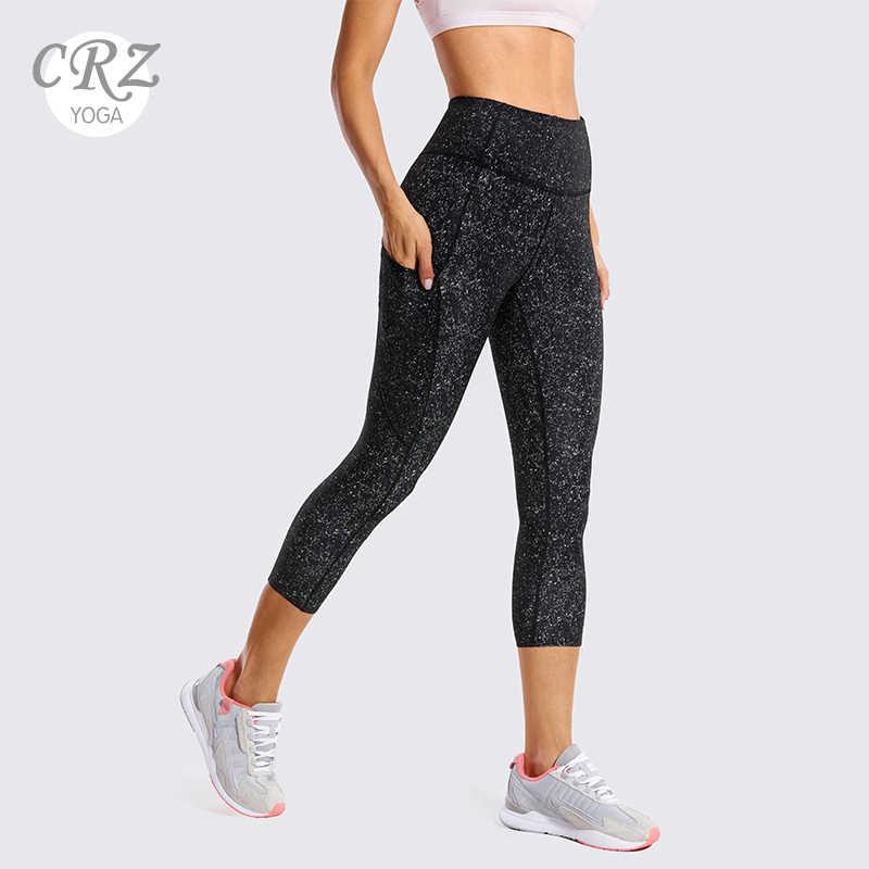 CRZ YOGA Womens Naked Feeling High Waist Crop 3//4 Gym Leggings Running Yoga Capri with Side Pocket 19 Inches