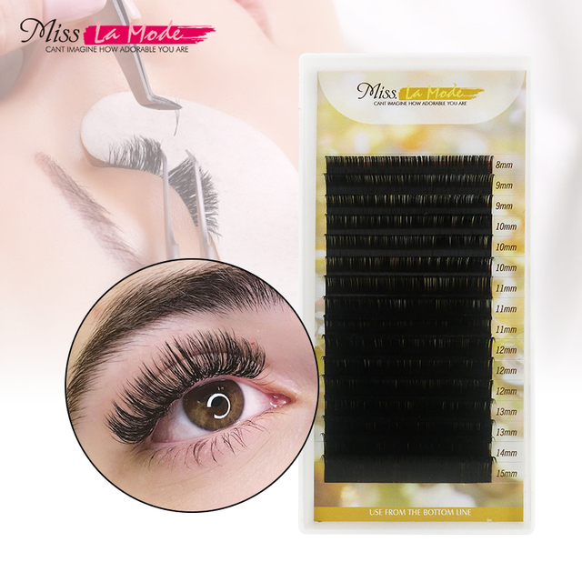 Misslamode all size mink eyelashes 8-15mm mix individual eyelashes 16rows russian volume eyelashes extension