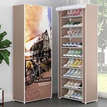 بسيطة متعددة الطبقات مزيج الغبار خزانة خذاء قماش متعدد الاستخدامات تخزين الأحذية الرف للطي المعادن أداة تنظيم الأحذية الرف الرف