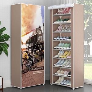 Image 1 - Meuble à chaussures vêtement en tissu non tissé, meuble à chaussures, Simple, multi niveaux, en métal, meuble de rangement, pliable, organisateur