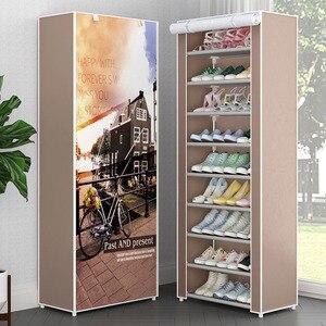 Image 1 - Simple Multi layer Combination Dustproof Shoe Cabinet Non woven Cloth Storage Shoe Rack Folding Metal Shoe Organizer Rack Shelf