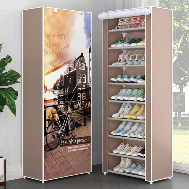 Simple Non-woven Cloth Fabric Dustproof Shoe Rack Folding Assembly Metal Shoe Rack Home Shoe Organizer Cabinet 2