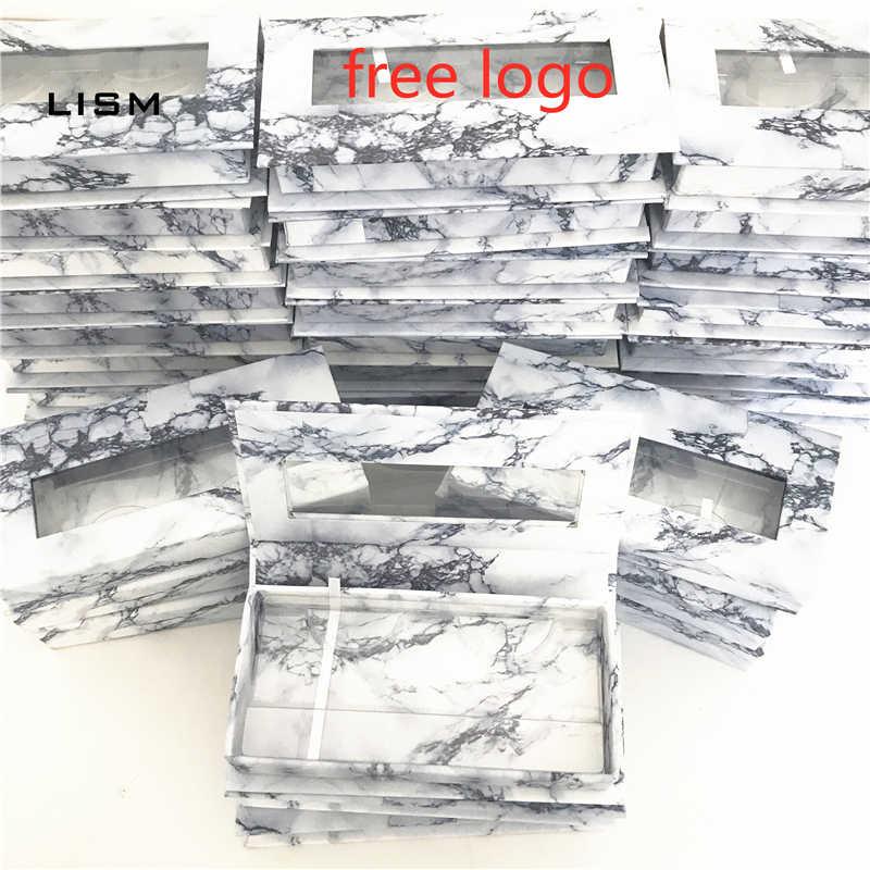 Bán Buôn Logo Dán Đá Cẩm Thạch Làn Mi Hộp Nhựa Làn Mi Khay Lông Mi Giả Hộp Đóng Gói Cils Dây Kim Cương Từ Lưng Trống