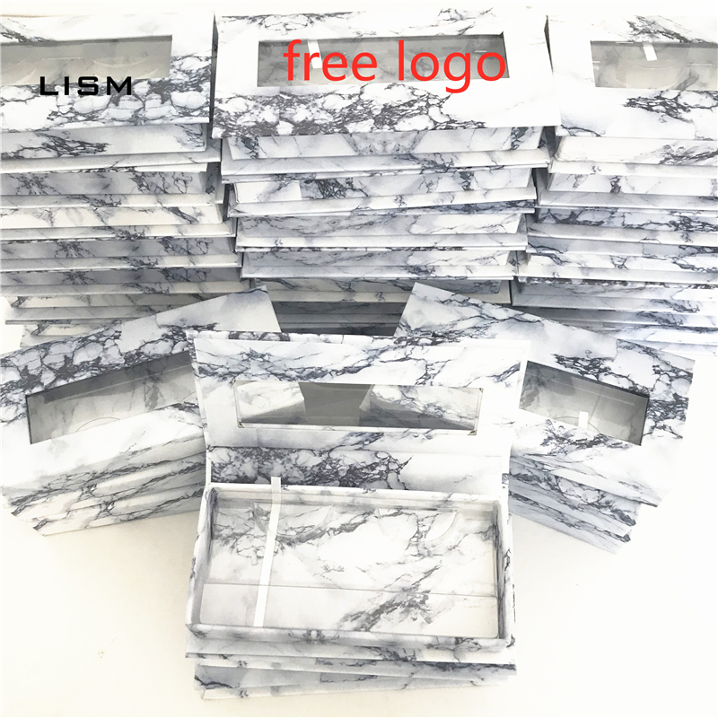 Wholesale Logo Sticker Marble Lash Box Plastic Lash Tray False Eyelashes Packaging Box Cils Strip Diamond Magnetic Case Empty