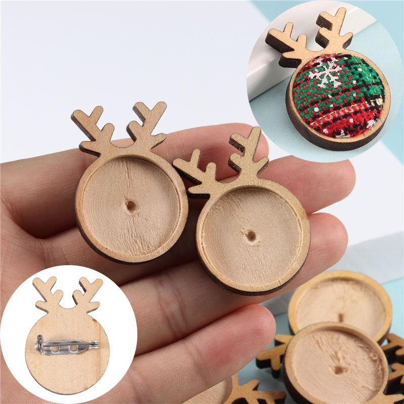 Louleur Plain Wood Cabochon Brooch Base Settings DIY Deer Shaped Paperclip Christmas Brooches Bezel Tray Jewelry Making Supplies