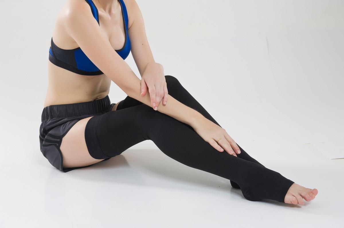 médica varicosa fechado toe meias joelho manga