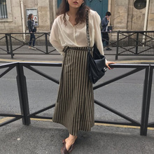 2019 Korea Early Autumn Solid Color Retro High Waist Striped Skirt Straight Fashion Women Skirts Long