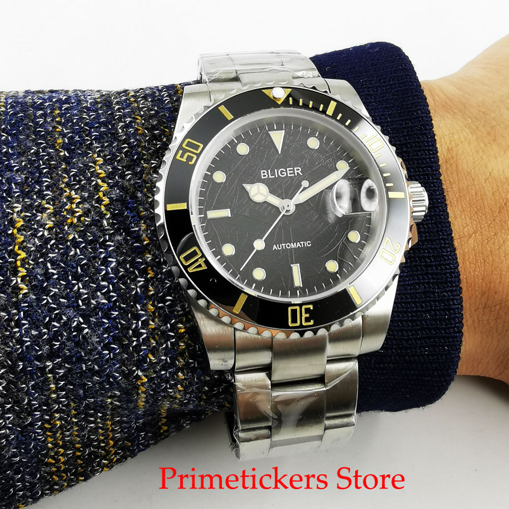 40mm leave texture black dial sapphire glass mental strap yellow hands date automatic men wristwatch