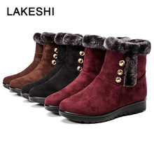Fashion Women Boots Suede Winter Shoes Snow Warm Fur Female Ankle Bota Booties