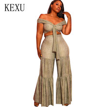 KEXU Sexy Fashion Personality Snakeskin Wrap Chest Wide Pants Two Pieces Sets Lace-up Hollow Out Jumpsuits Women Female Overalls