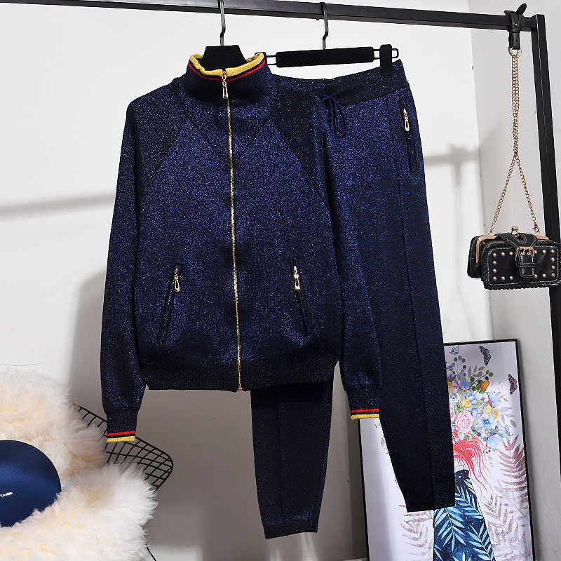 Winter High Quality Tracksuit Women Knitted Sets Fashion Bright Silk Knit Cardigans Women Tops Casual Pants Two Piece Set Women