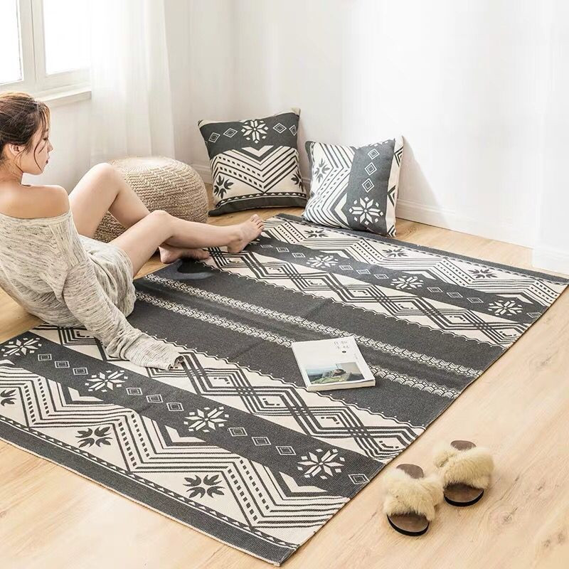 Nordic Geometric Cotton And Linen Carpet Handmade Woven Bedroom Beside Mat For Sofa Coffee Table  Handwoven Rugs Bathroom