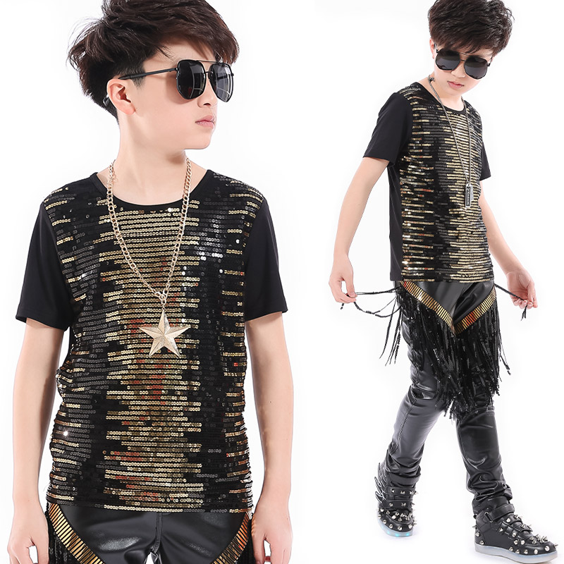 Children Performance Clothing Boys Sequins T-Shirt Fringe Pants Set Stage Outfits Singer Host Costumes Hip Hop Clothing DQS2777