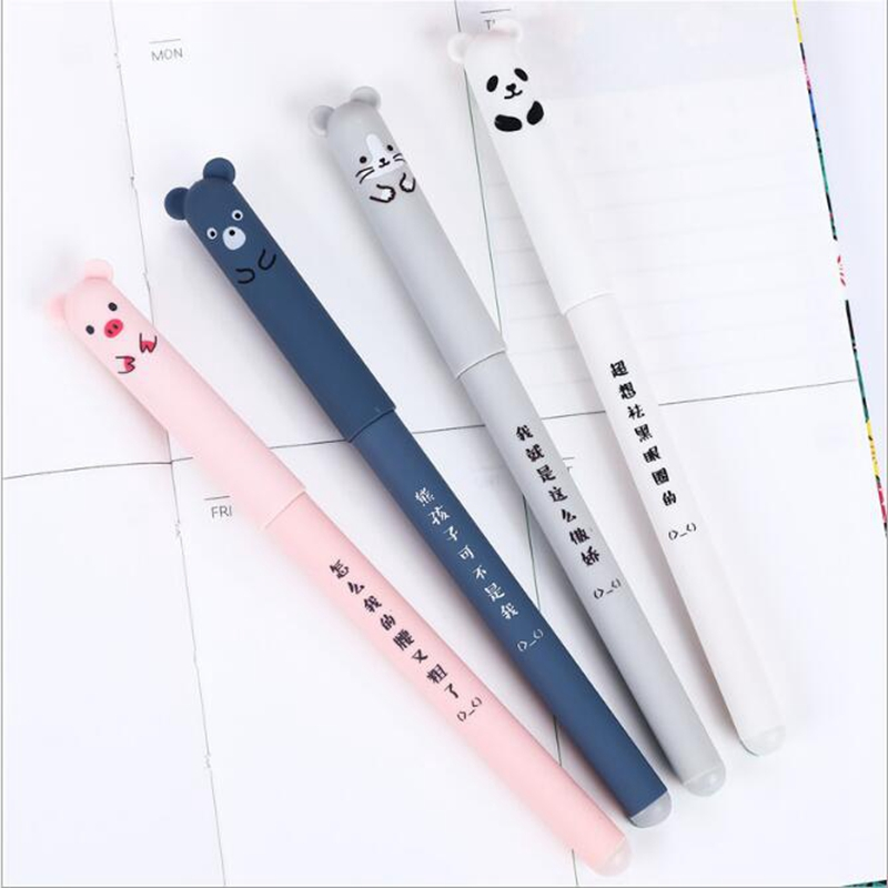 4Pcs/Set Cartoon Animals Erasable Gel Pen Cute Panda Cat  0.38mm Magic Pens Kawaii School Writing Novelty Stationery Girls Gifts