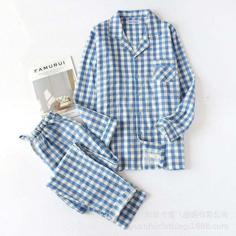 Spring Men And Women Long Sleeves Pajamas Plaid Leisure Long Shirt Nightwear Cotton Plus Size Sleep Set Matching Couples Pyjamas