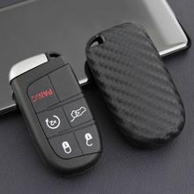 цена на Car Carbon Fiber Key Fob Chain Ring Cover Case For Jeep Grand Cherokee Renegade Compass Dodge Journey Charger Dart Chrysler