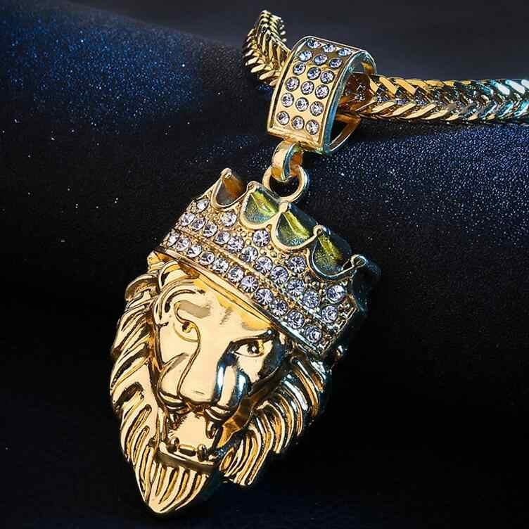2019 nova moda hip hop coroa leão cabeça colar de pingente de hiphop dos homens boutique de jóias