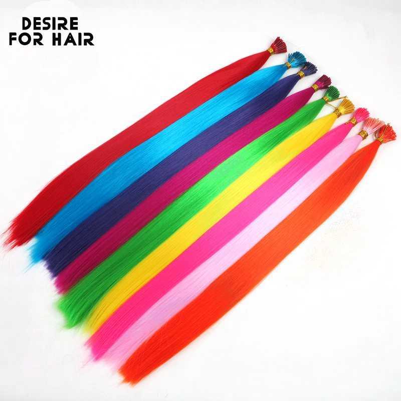 Desire für haar 50 stränge 22 zoll lange 1g wärme beständig synthetische spitze ICH micro ring haar extensions lila farbe für Party