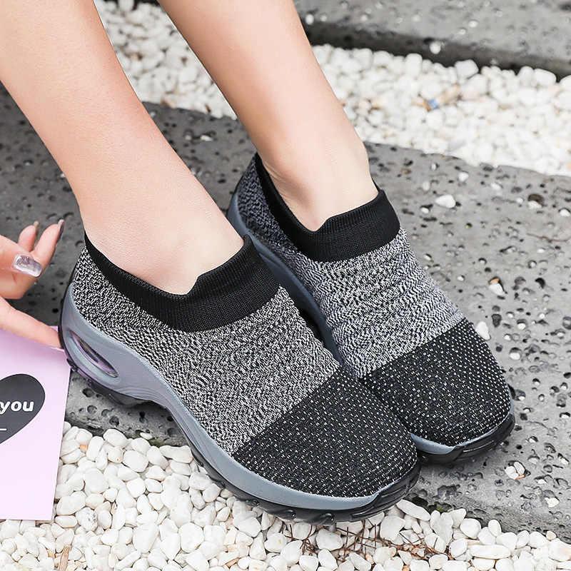 Damyuan 2020 moda kadın ayakkabı büyük boy 42 nefes yumuşak hafif spor ayakkabı rahat rahat ayakkabılar