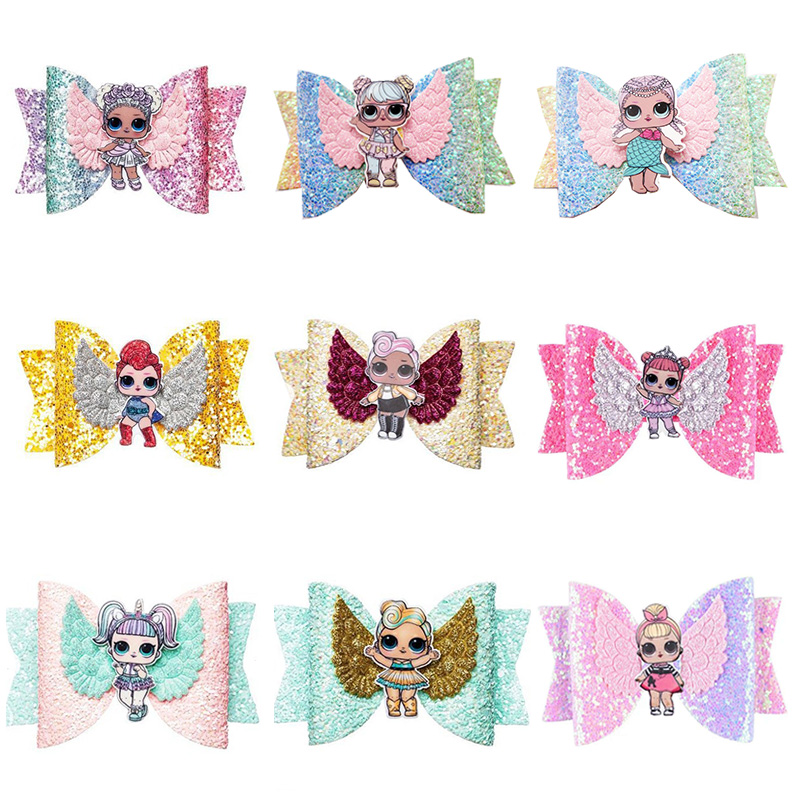 LOL Surprise Dolls Toys Bright Flashing Gradient With Sequins Swallowtail Children's Bow Hair Clip Hair Accessories 2S35