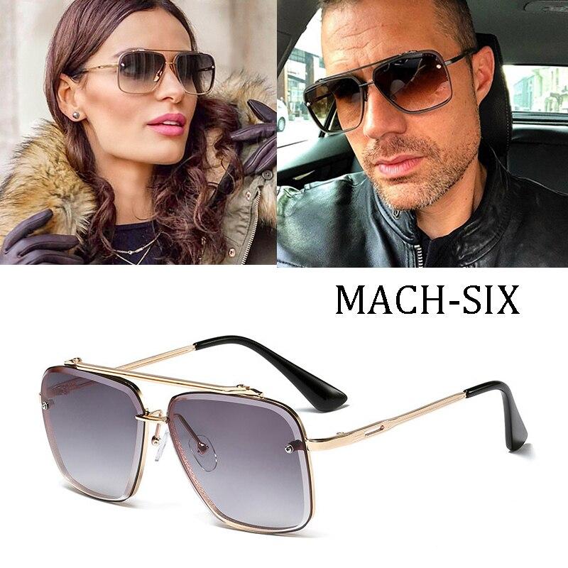 Marca de luxo design moda clássico mach seis estilo gradiente lente óculos de sol dos homens do vintage design da marca óculos de sol oculos 95527