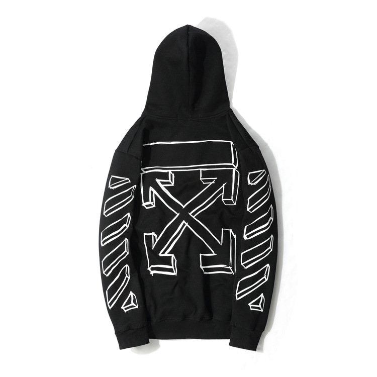 2o18 Winter New Style Off Black And White Sketch Lines Men And Women Celebrity Style Hoodie Loose And Plus-sized Pullover Coat F