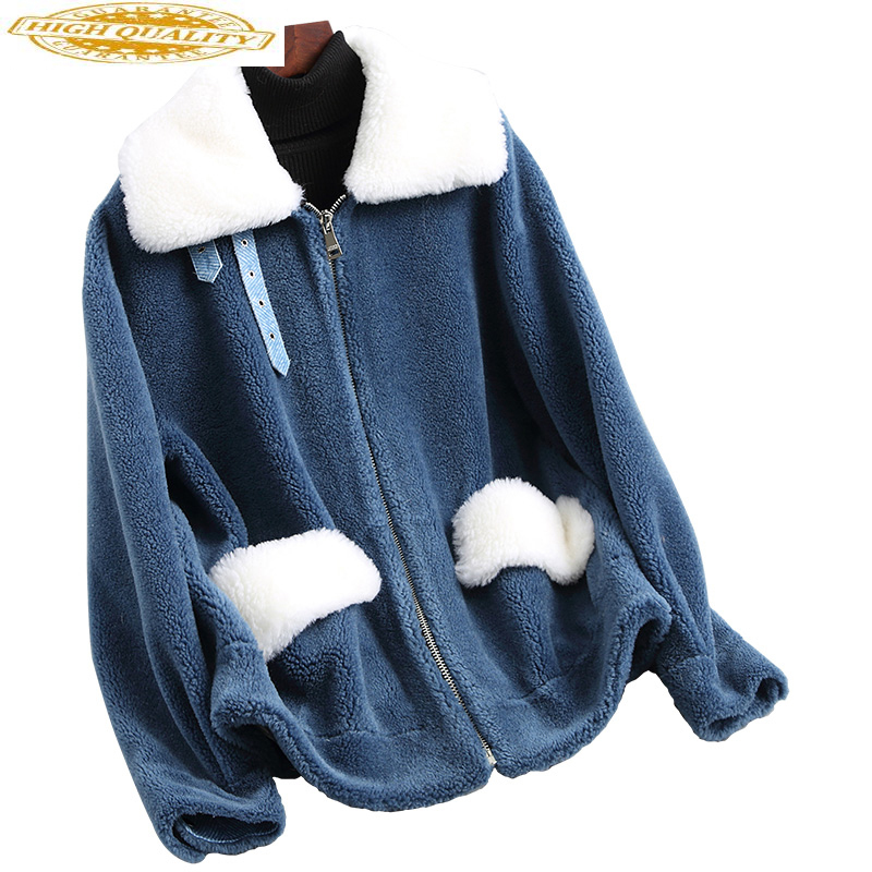 2020 Women's Fur Coat Sheep Shearing Coats Real Wool Fur Jackets Casual Short Winter Jacket Women Outerwear NST18159
