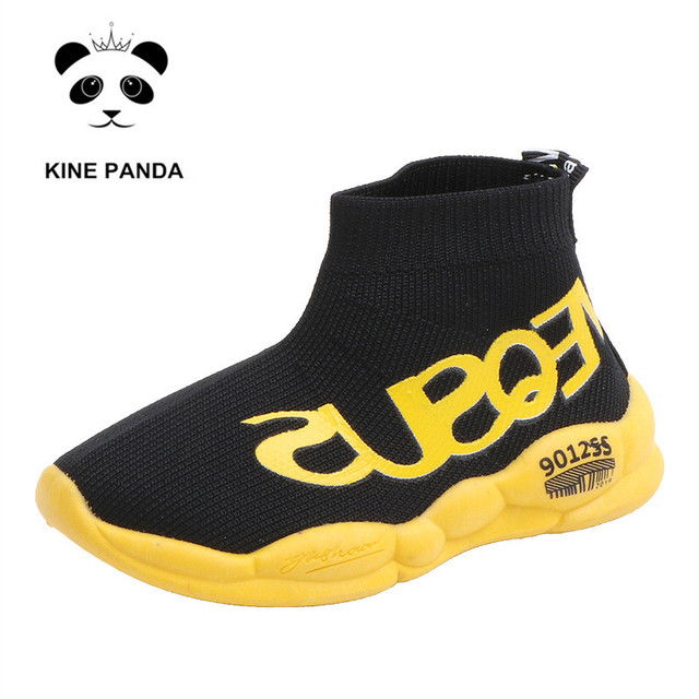 KINE PANDA 1 2 3 4 5 Years Old Baby Shoes Kids Sneakers for Girl Children Boys Sport Running Shoes Breathable Knitting Slip on