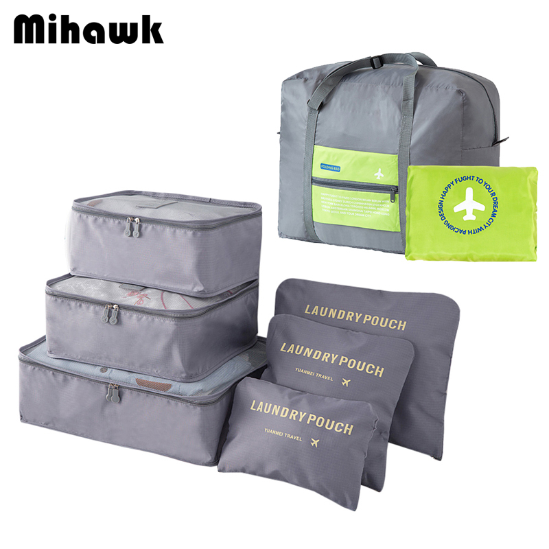 Mihawk Waterproof Folding Men Travel Bags Set Clothes Underwear Shoes Cosmetic Luggage Organizer Large Capacity Handbag Supplies