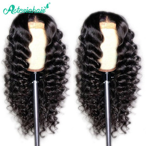 Loose Deep Wave Lace Closure Wigs For Black Women Brazilian 5x5 Lace Closure Human Hair Wigs 150% 180% Density Asteria Hair Wigs(China)
