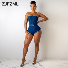 Off The Shoulder Sexy Denim Overalls For Women Strapless Open Back Bodycon Bodysuit  Casual High Waist Sashes Club Party Romper недорого