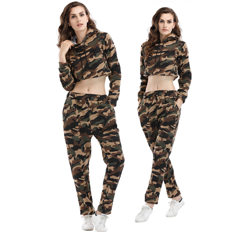 2020 Autumn And Winter New Style WOMEN'S Sweater Camouflage Hooded Short Tops WOMEN'S Pants Casual Sportswear