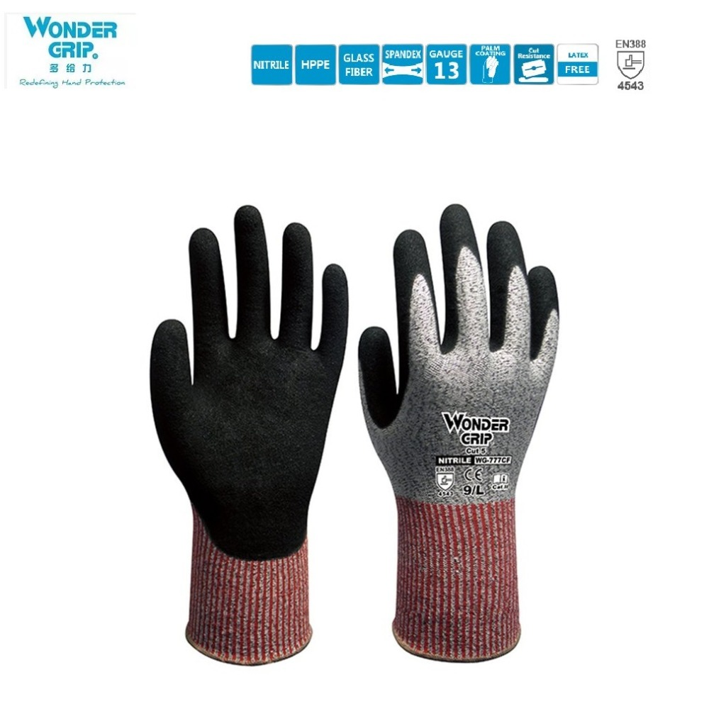 Duogeili Wonder Grip CE Cut Proof Anti Cut Gloves Universial Five-level Anti-cutting Oil-proof And Wear-resistant Glove EN 388