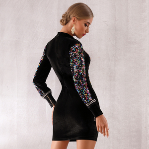 Image 5 - Seamyla New Fashion Sequined Dress Women 2020 Bodycon Sexy Night Out Celebrity Evening Party Dress Vestidos Ladies Mini Clubwear